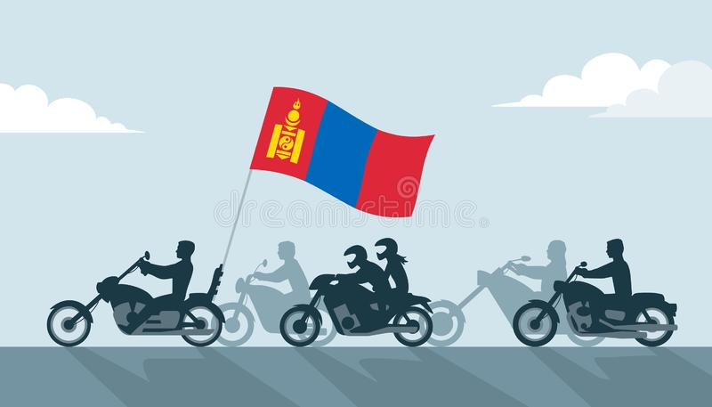 Οι ποδηλάτες με τη Μογγολία σημαιοστολίζουν διανυσματική απεικόνιση