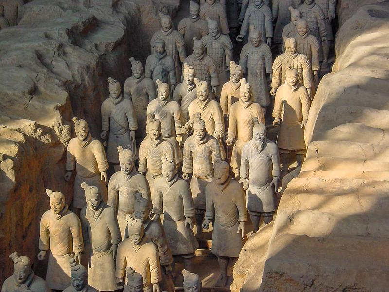 Οι πολεμιστές στρατού τερακότας στον τάφο του πρώτου αυτοκράτορα China's σε Xian Περιοχή παγκόσμιων κληρονομιών της ΟΥΝΕΣΚΟ στοκ εικόνα με δικαίωμα ελεύθερης χρήσης