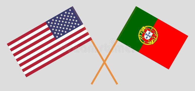 ΗΠΑ και Πορτογαλία Οι πορτογαλικές σημαίες των Ηνωμένων Πολιτειών της Αμερικής και Επίσημα χρώματα Σωστή αναλογία r ελεύθερη απεικόνιση δικαιώματος