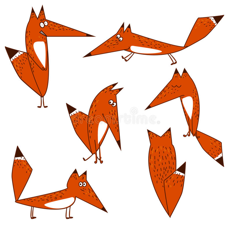 Οι πορτοκαλιές επιλογές ύφους κινούμενων σχεδίων αλεπούδων χαριτωμένες αστείες στην απομόνωση σε διάφορο θέτουν ελεύθερη απεικόνιση δικαιώματος