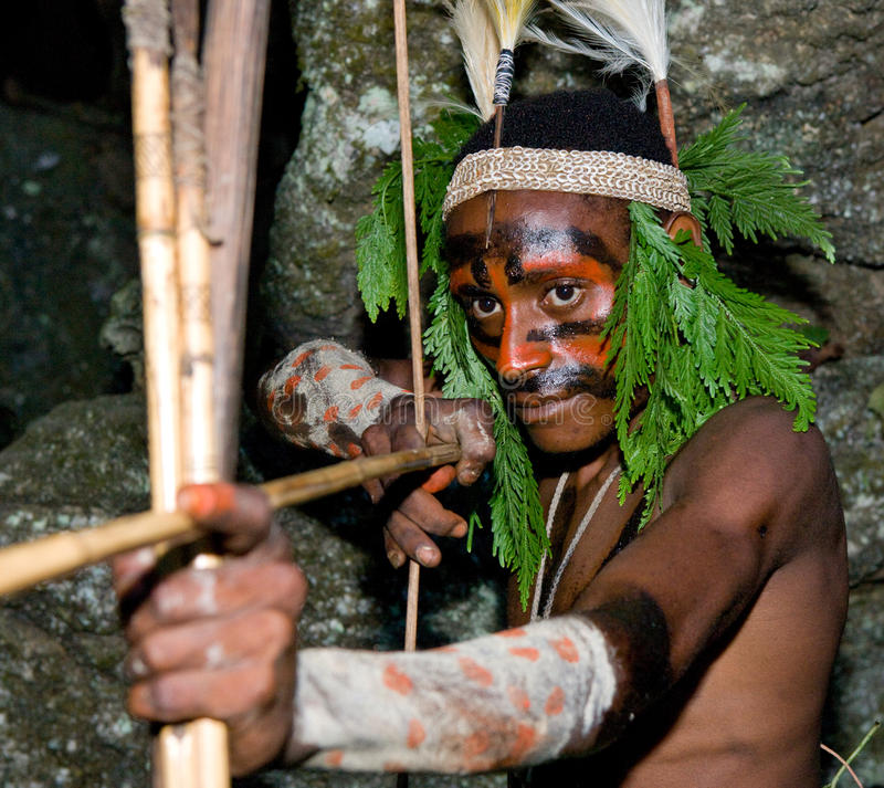 Οι πολεμιστές μιας φυλής Papuan Yafi στα παραδοσιακές ενδύματα, τις διακοσμήσεις και το χρωματισμό Νησί της Νέας Γουϊνέας, στοκ φωτογραφίες με δικαίωμα ελεύθερης χρήσης