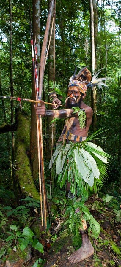 Οι πολεμιστές μιας φυλής Papuan Yafi στα παραδοσιακές ενδύματα, τις διακοσμήσεις και το χρωματισμό Νησί της Νέας Γουϊνέας, στοκ εικόνες