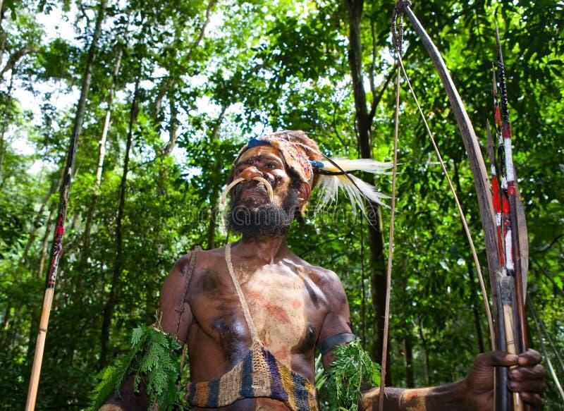 Οι πολεμιστές μιας φυλής Papuan Yafi στα παραδοσιακές ενδύματα, τις διακοσμήσεις και το χρωματισμό Νησί της Νέας Γουϊνέας, στοκ εικόνες με δικαίωμα ελεύθερης χρήσης