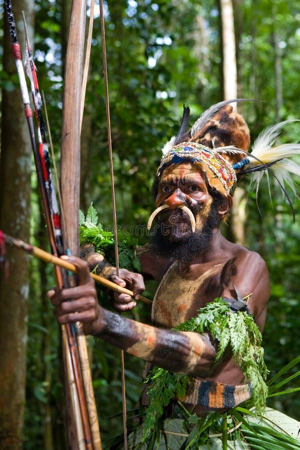 Οι πολεμιστές μιας φυλής Papuan Yafi στα παραδοσιακές ενδύματα, τις διακοσμήσεις και το χρωματισμό Νησί της Νέας Γουϊνέας, στοκ εικόνα με δικαίωμα ελεύθερης χρήσης