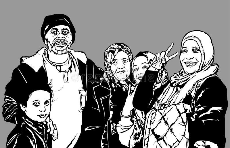 Οι πρόσφυγες ομαδοποιούν διανυσματική απεικόνιση