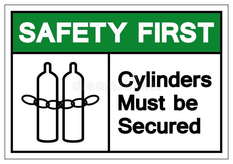 Οι πρώτοι κύλινδροι ασφάλειας πρέπει να είναι εξασφαλισμένο σημάδι συμβόλων, διανυσματική απεικόνιση, να απομονώσουν στην άσπρη ε απεικόνιση αποθεμάτων