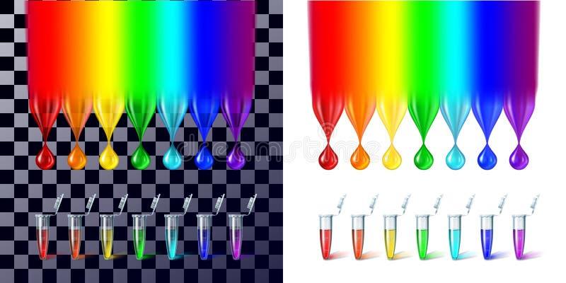 Οι πτώσεις χρώματος ουράνιων τόξων και οι σωλήνες δοκιμής απεικόνιση αποθεμάτων