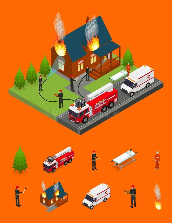 Οι πυροσβέστες εξαφανίζουν την πυρκαγιά στη Isometric άποψη σπιτιών και μερών στοιχείων διάνυσμα ελεύθερη απεικόνιση δικαιώματος
