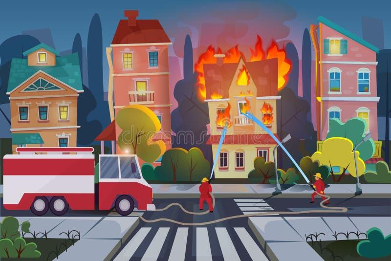 Οι πυροσβέστες με το πυροσβεστικό όχημα μηχανών εξαφανίζουν το αστικό σπίτι στην πόλη Διανυσματική απεικόνιση κινούμενων σχεδίων  διανυσματική απεικόνιση