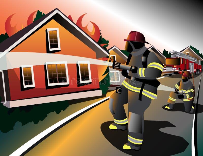 Οι πυροσβέστες προσπαθούν να εξαφανίσουν τα καίγοντας σπίτια διανυσματική απεικόνιση