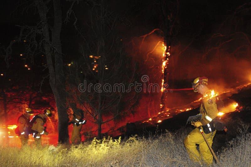 Οι πυροσβέστες στην εργασία στη μέση ενός λιβαδιού καίγονται στοκ φωτογραφία