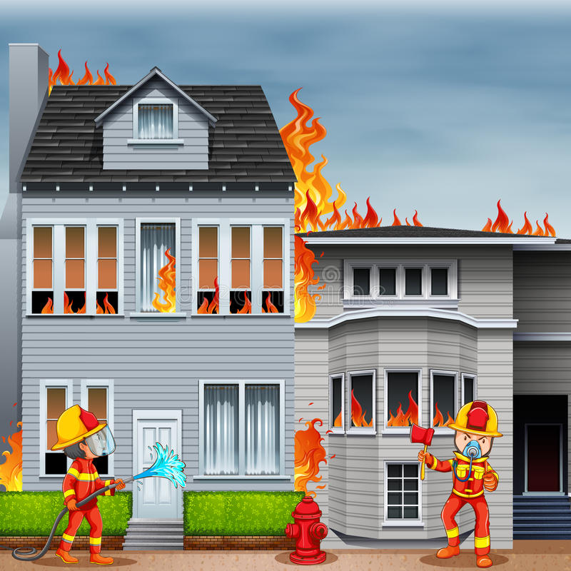 Οι πυροσβέστες στη σκηνή του σπιτιού βάζουν φωτιά ελεύθερη απεικόνιση δικαιώματος