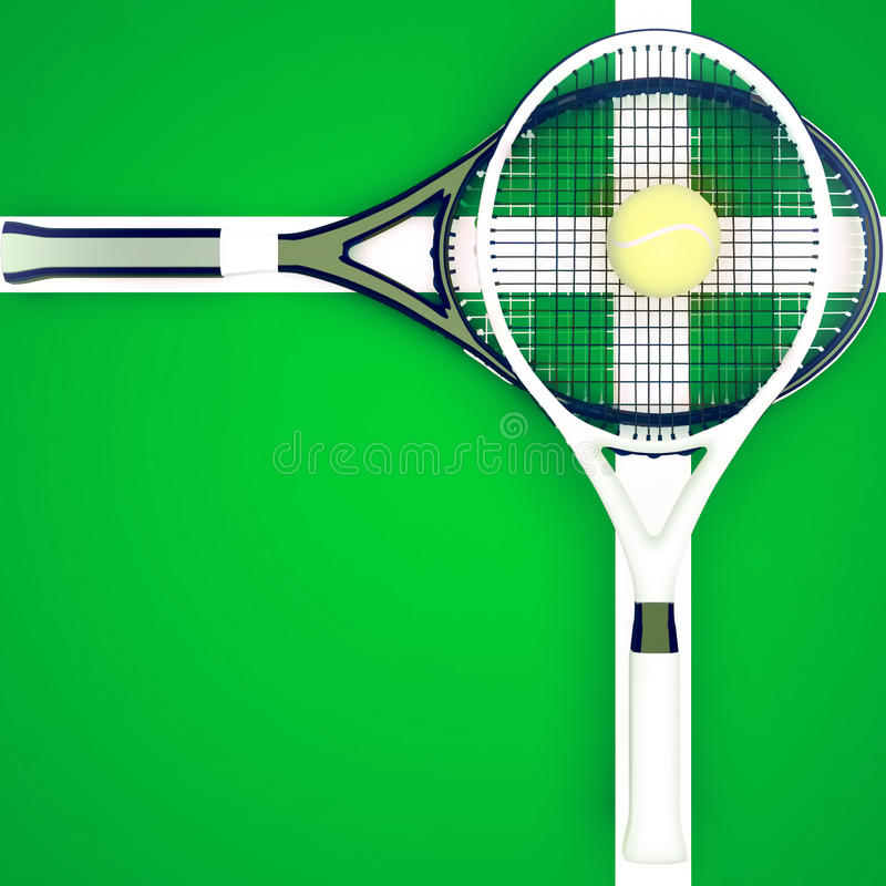 Οι ρακέτες και η σφαίρα αντισφαίρισης βρίσκονται στο πράσινο δικαστήριο απεικόνιση αποθεμάτων