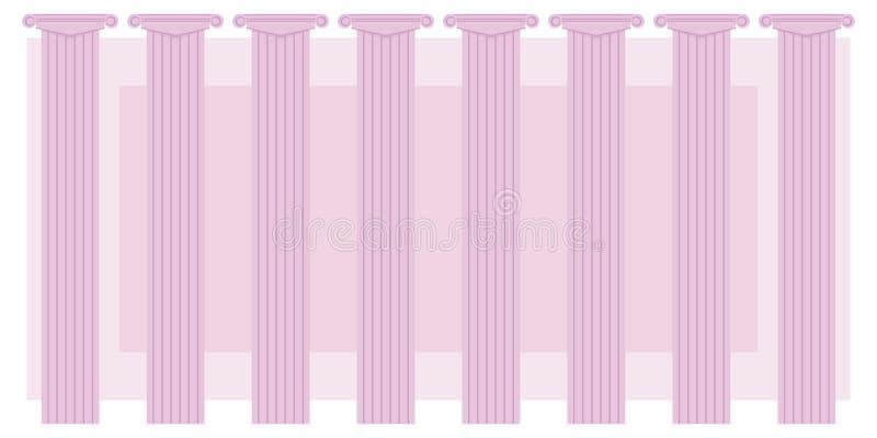 Οι ρόδινες σειρές οκτώ στηλών χρώματος κλασικές σε ένα υπόβαθρο του ρόδινου ορθογωνίων διανυσματικού υποβάθρου θεάτρων απεικόνιση ελεύθερη απεικόνιση δικαιώματος
