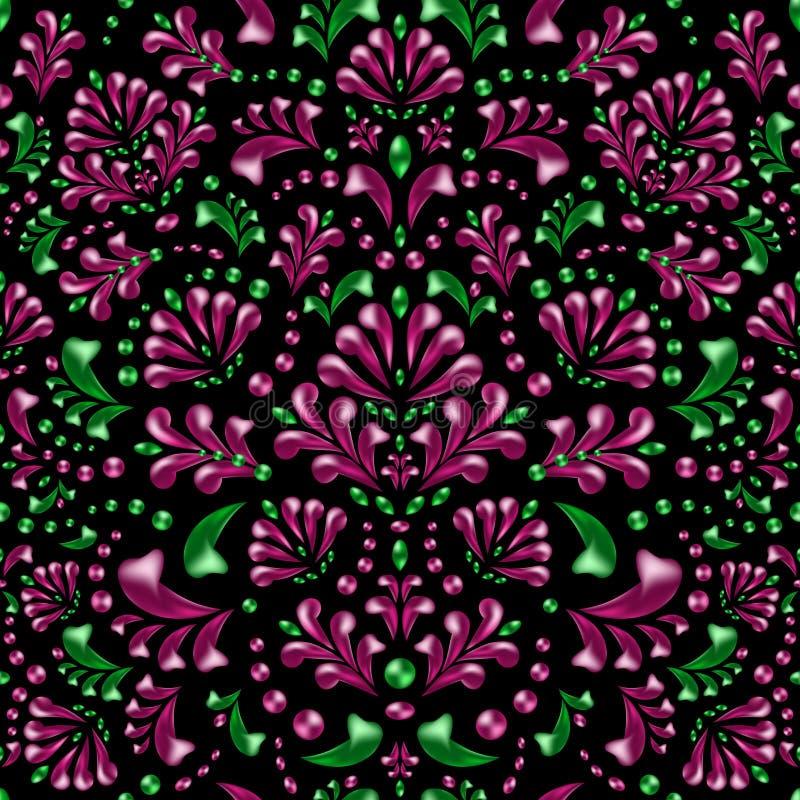 Οι ρόδινοι και πράσινοι Μπους, κλάδοι και φύλλα σε ένα μαύρο υπόβαθρο απεικόνιση αποθεμάτων