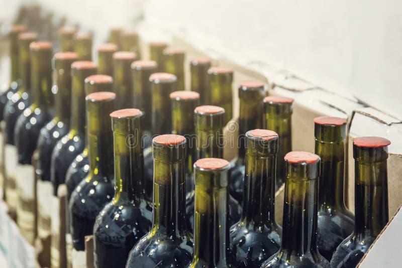 Οι σειρές των μπουκαλιών κρασιού στο κατάστημα κρασιού, κλείνουν επάν στοκ εικόνες