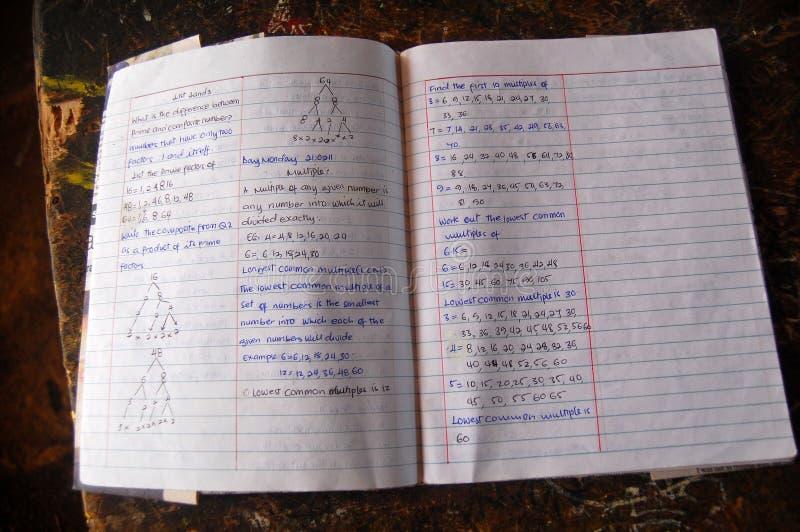 Οι σελίδες του σπουδαστή γυμνασίου το βιβλίο στοκ εικόνα