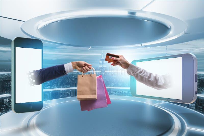 Οι σε απευθείας σύνδεση αγορές μέσω της αγοράς από Διαδίκτυο στοκ εικόνα με δικαίωμα ελεύθερης χρήσης