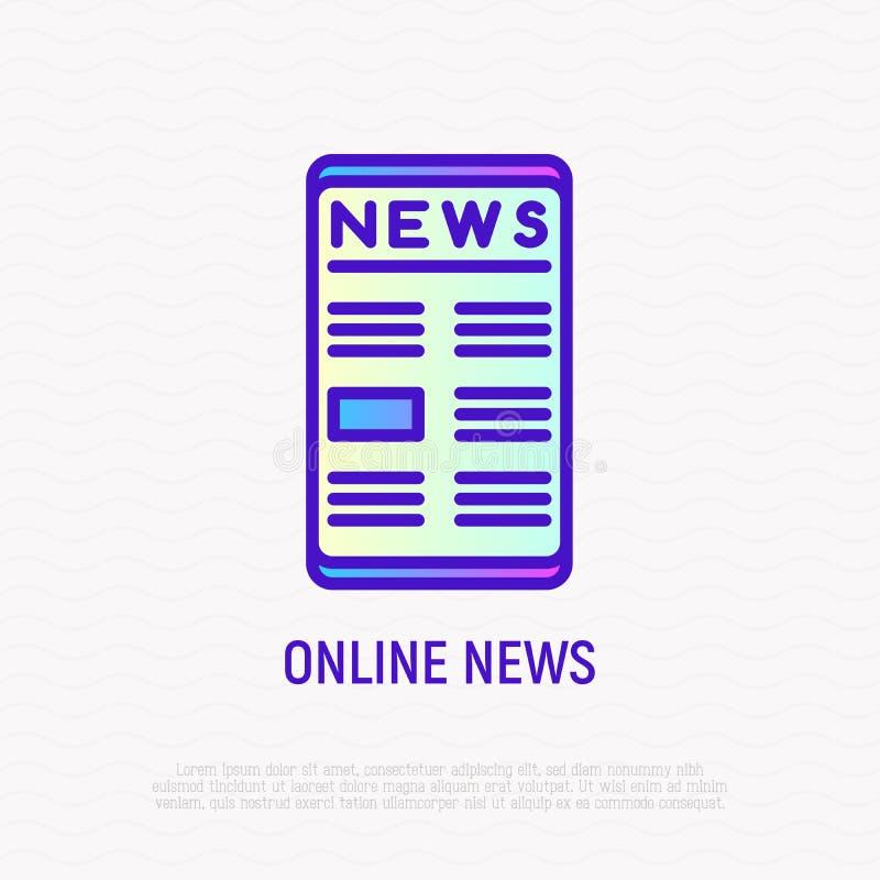 Οι σε απευθείας σύνδεση ειδήσεις στο smartphone λεπταίνουν το εικονίδιο γραμμών διανυσματική απεικόνιση