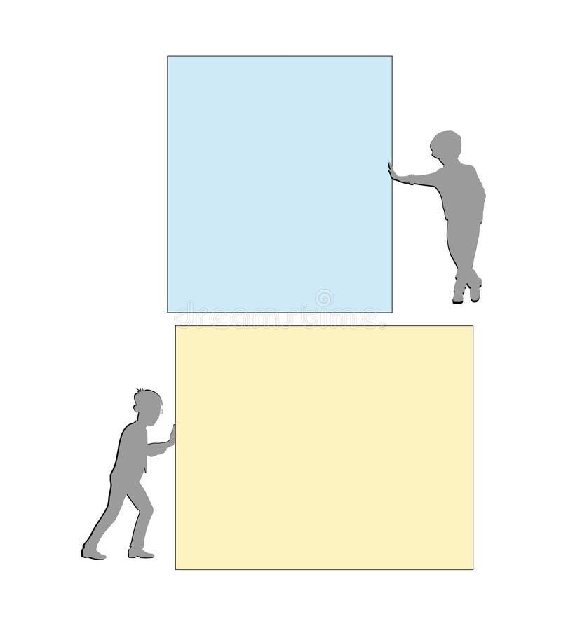 Οι σκιαγραφίες των ανθρώπων στέκονται κοντά στο έγγραφο Επιχειρησιακές ιδέες επίσης corel σύρετε το διάνυσμα απεικόνισης ελεύθερη απεικόνιση δικαιώματος