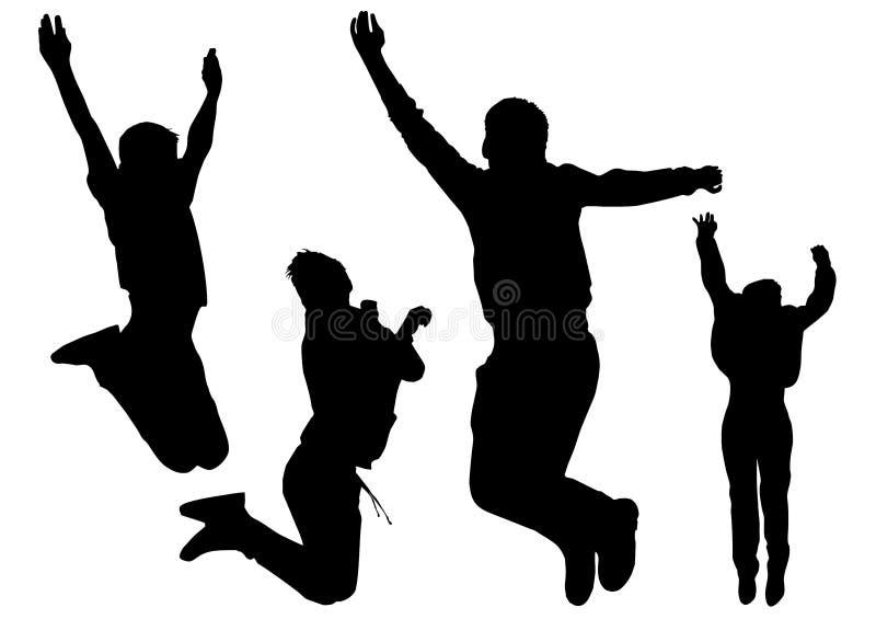 Οι σκιαγραφίες των νέων ευτυχών αγοριών που πηδούν στο ύψος και την ελευθερία αισθάνονται από αυτήν την χαρά απεικόνιση αποθεμάτων