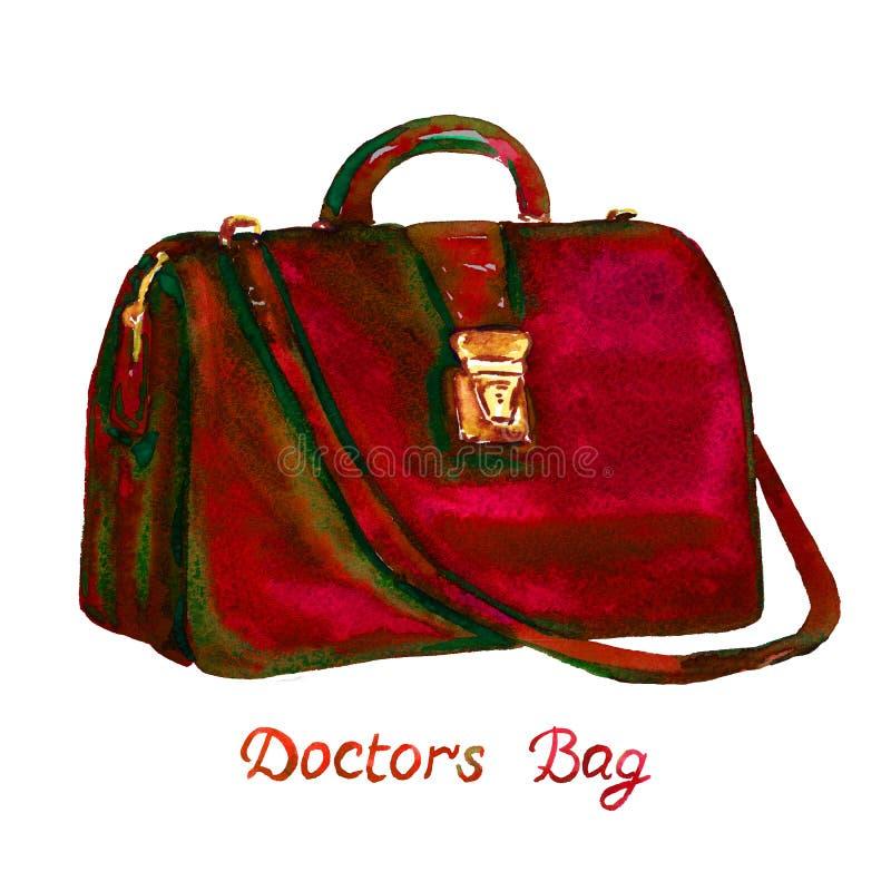 Οι σκούρο κόκκινο γιατροί χρώματος τοποθετούν τον τύπο με τη χρυσή κλειδαριά και τη μακριά λαβή, που απομονώνεται σε σάκκο στο άσ απεικόνιση αποθεμάτων
