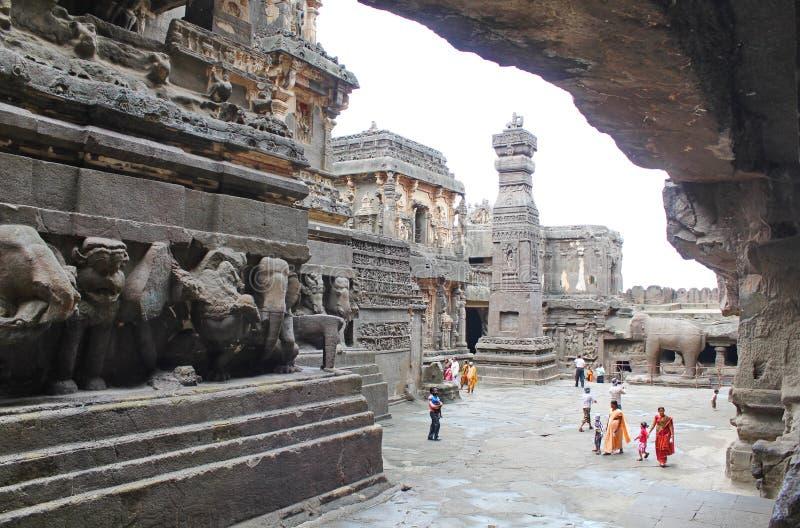 Οι σπηλιές Ellora, ο ναός Kailasa, ανασκάπτουν Νο 16, Ινδία στοκ εικόνες με δικαίωμα ελεύθερης χρήσης