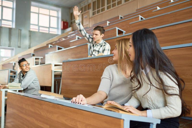 Οι σπουδαστές στο κολλέγιο μιλούν στοκ εικόνες με δικαίωμα ελεύθερης χρήσης