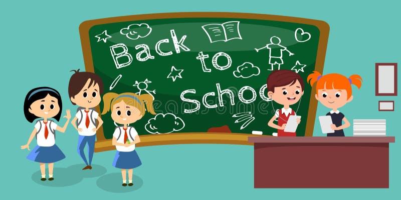 Οι σπουδαστές συμμετέχουν στο classoom, το αγόρι και το κορίτσι στον πίνακα κοντά στον πίνακα κρατούν τα έγγραφα στα χέρια και να διανυσματική απεικόνιση