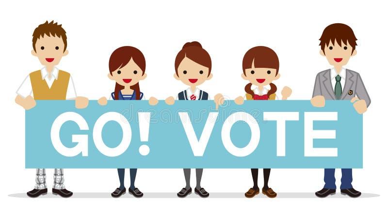 Οι σπουδαστές απευθύνονται την ψηφοφορία - αφίσσα διανυσματική απεικόνιση