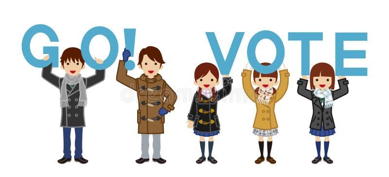 Οι σπουδαστές απευθύνονται την ψηφοφορία με το αλφάβητο - χειμώνας ελεύθερη απεικόνιση δικαιώματος
