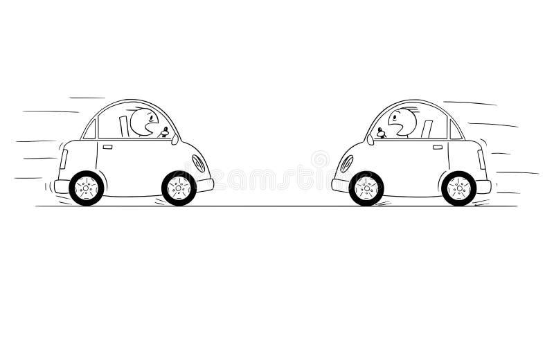 Οι στιγμές Drive αυτοκινήτων σχεδίων OD δύο κινούμενων σχεδίων ο ένας εναντίον του άλλου ακριβώς πριν από τη μετωπική σύγκρουση σ ελεύθερη απεικόνιση δικαιώματος