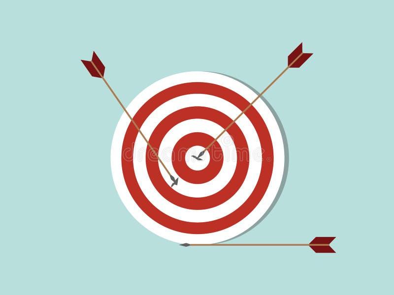 Οι στόχοι βελών στοχεύουν στο εικονίδιο επιχειρησιακής έννοιας με το βέλος που διαδίδεται στο στόχο και από το στόχο με το επίπεδ απεικόνιση αποθεμάτων