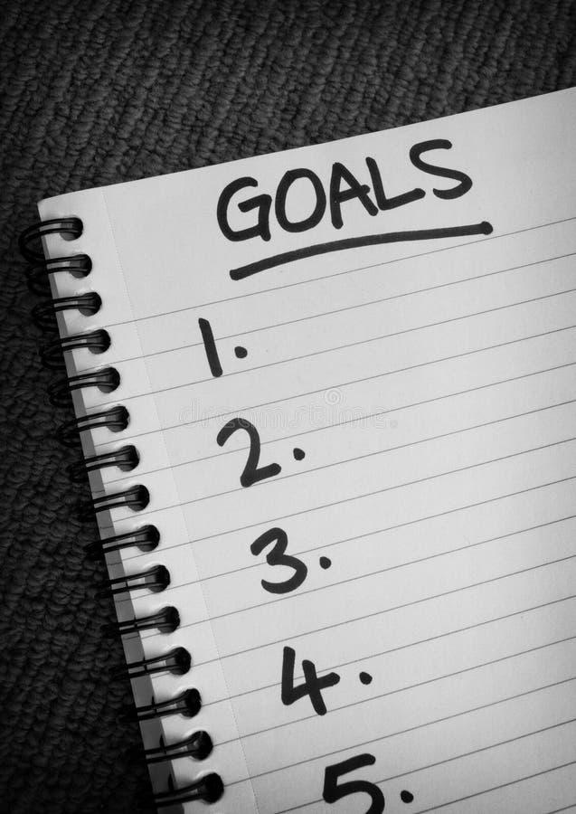 Οι στόχοι εμφανίζουν λίστα το σπειροειδές σημειωματάριο στοκ φωτογραφία με δικαίωμα ελεύθερης χρήσης
