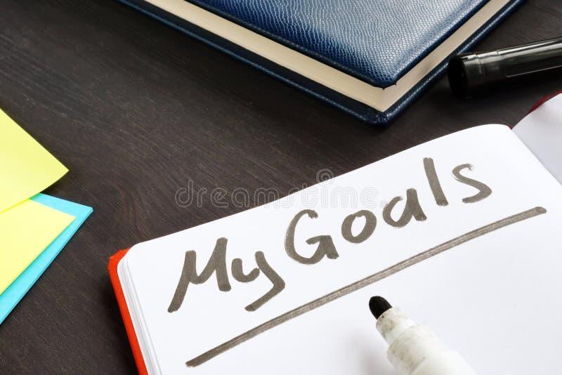 Οι στόχοι μου χειρόγραφοι στο σημειωματάριο στοκ εικόνες με δικαίωμα ελεύθερης χρήσης