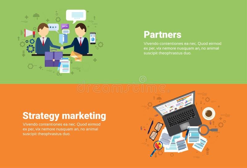 Οι συνεργάτες επιχειρηματιών τινάζουν τη συνεργασία χεριών, ψηφιακό έμβλημα επιχειρησιακού Ιστού σχεδίων εμπορικής στρατηγικής απεικόνιση αποθεμάτων
