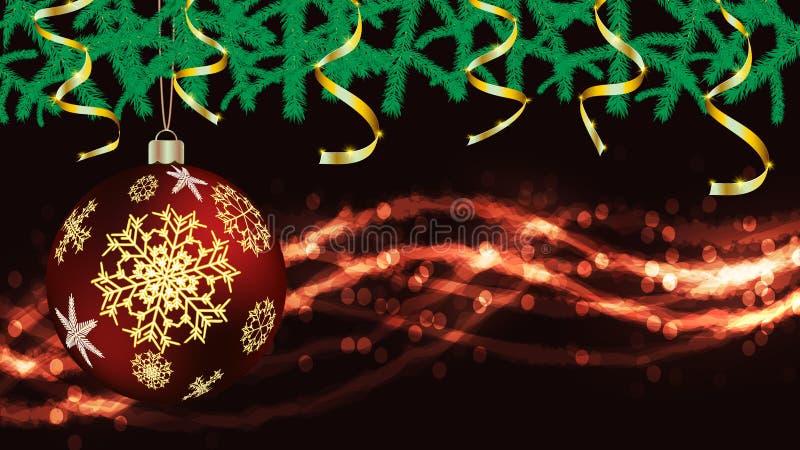 Οι σφαίρες, διακοσμήσεις Χριστουγέννων για το νέο έτος, έλατο διακλαδίζονται χρυσές κορδέλλες και φω'τα, μια γιρλάντα που απομονώ διανυσματική απεικόνιση