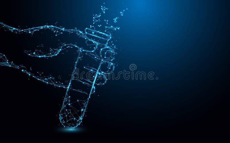 Οι σωλήνες δοκιμής εκμετάλλευσης χεριών διαμορφώνουν τις γραμμές, τα τρίγωνα και το σχέδιο ύφους μορίων ελεύθερη απεικόνιση δικαιώματος