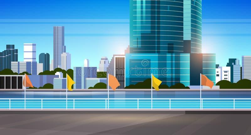 Οι σύγχρονοι ουρανοξύστες οριζόντων πόλεων περιφράζουν και ποταμός ενάντια στο επίπεδο οριζόντιο έμβλημα υποβάθρου εικονικής παρά απεικόνιση αποθεμάτων
