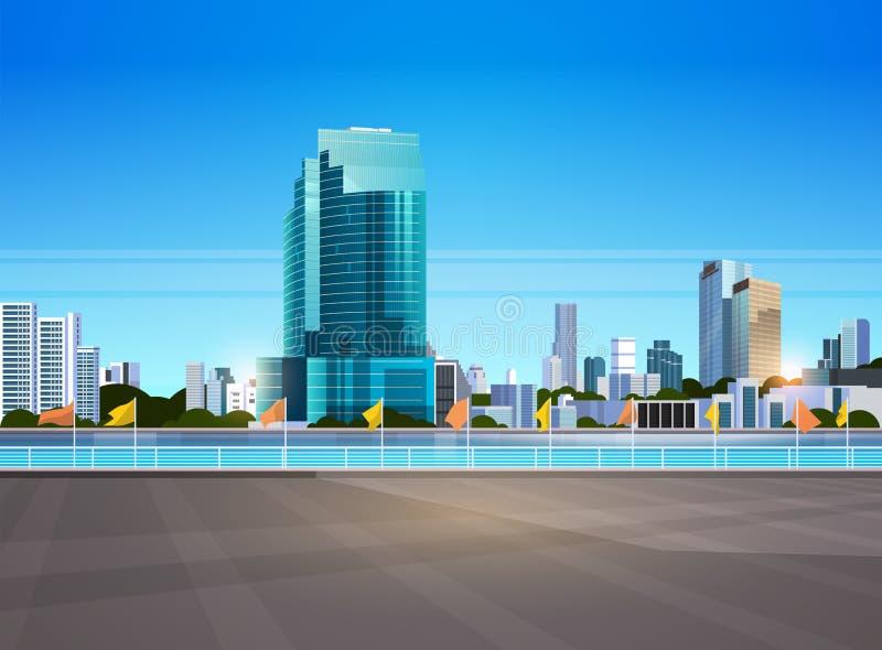 Οι σύγχρονοι ουρανοξύστες οριζόντων πόλεων περιφράζουν και ποταμός ενάντια στο επίπεδο οριζόντιο έμβλημα υποβάθρου εικονικής παρά διανυσματική απεικόνιση
