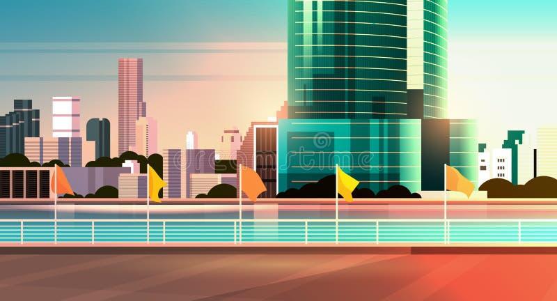 Οι σύγχρονοι ουρανοξύστες οριζόντων πόλεων περιφράζουν και ποταμός στο κλίμα ηλιοβασιλέματος εικονικής παράστασης πόλης οριζόντια ελεύθερη απεικόνιση δικαιώματος