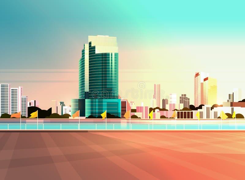 Οι σύγχρονοι ουρανοξύστες οριζόντων πόλεων περιφράζουν και ποταμός ενάντια στο επίπεδο οριζόντιο έμβλημα υποβάθρου ηλιοβασιλέματο ελεύθερη απεικόνιση δικαιώματος