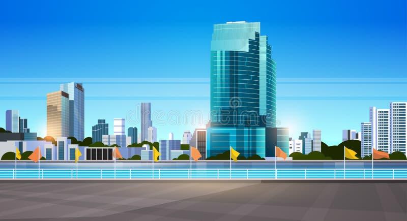 Οι σύγχρονοι ουρανοξύστες οριζόντων πόλεων περιφράζουν και ποταμός ενάντια στο επίπεδο οριζόντιο έμβλημα υποβάθρου εικονικής παρά ελεύθερη απεικόνιση δικαιώματος