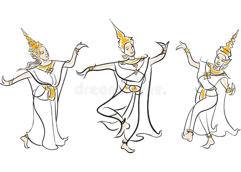 Απεικόνιση των ταϊλανδικών κλασσικών χορών διανυσματική απεικόνιση