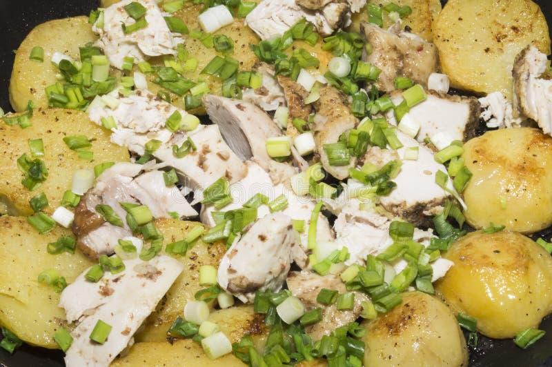 Οι τηγανισμένα πατάτες και το κοτόπουλο με τα πράσινα κρεμμύδια στοκ φωτογραφία με δικαίωμα ελεύθερης χρήσης
