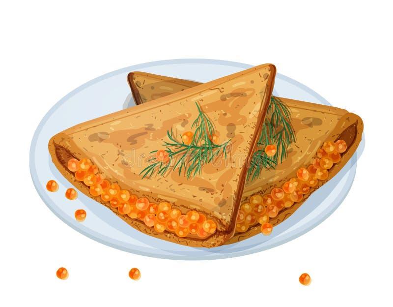 Οι τηγανισμένες τηγανίτες, blini ή crepes γεμισμένος με το χαβιάρι και να βρεθούν στο πιάτο που απομονώνεται στο άσπρο υπόβαθρο Π διανυσματική απεικόνιση