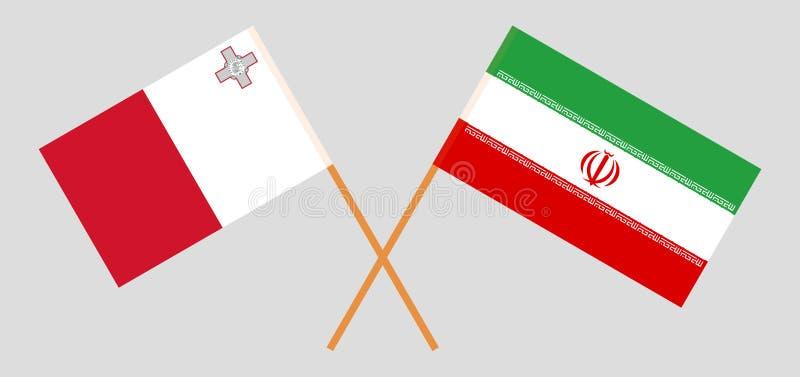 Οι της Μάλτα και ιρανικές σημαίες r o Vecto απεικόνιση αποθεμάτων