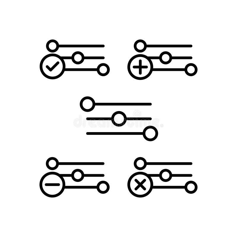 οι τοποθετήσεις, συν, αφαιρούν, μείον, εικονίδια σημαδιών ελέγχου Στοιχείο των εικονιδίων κουμπιών περιλήψεων Λεπτό εικονίδιο γρα διανυσματική απεικόνιση