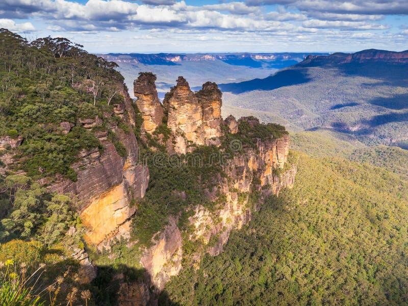 Οι τρεις αδελφές από το σημείο ηχούς, μπλε εθνικό πάρκο βουνών, στοκ φωτογραφίες