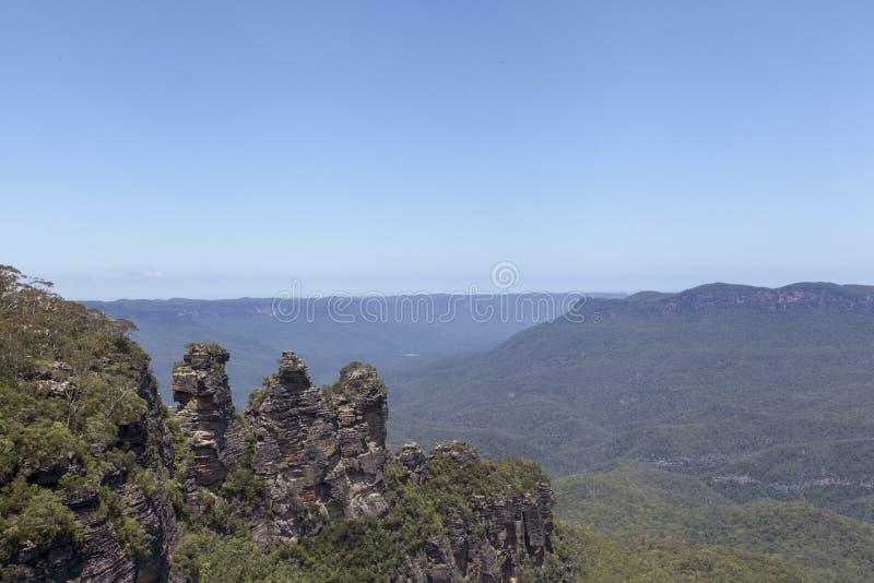 Οι τρεις αδελφές από το σημείο ηχούς, μπλε εθνικό πάρκο βουνών, στοκ εικόνες